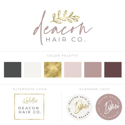 Chic minimal echo-friendly woman owned hair salon horizontal logo for sign