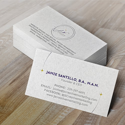 Design business cards for JS Creative concept