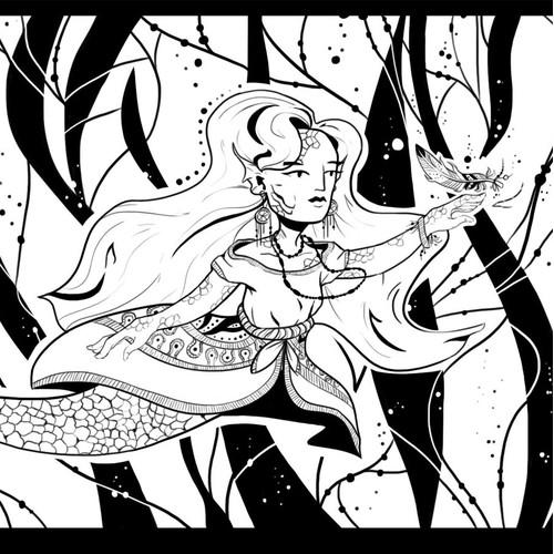 Mermaid in Boho style