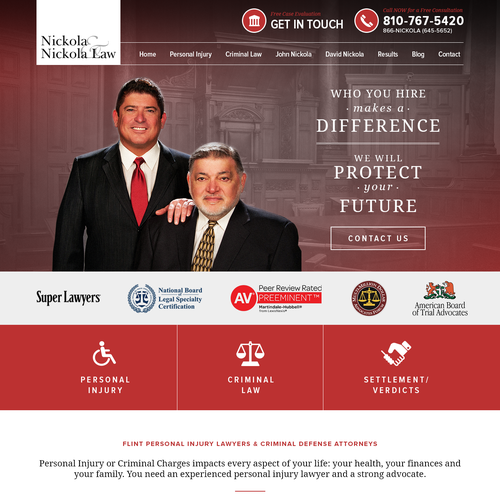 Landing Page design for Nickola & Nickola Law