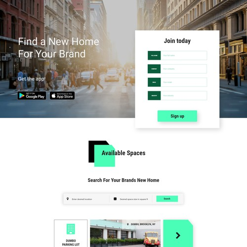 Clean Sign up Landing page