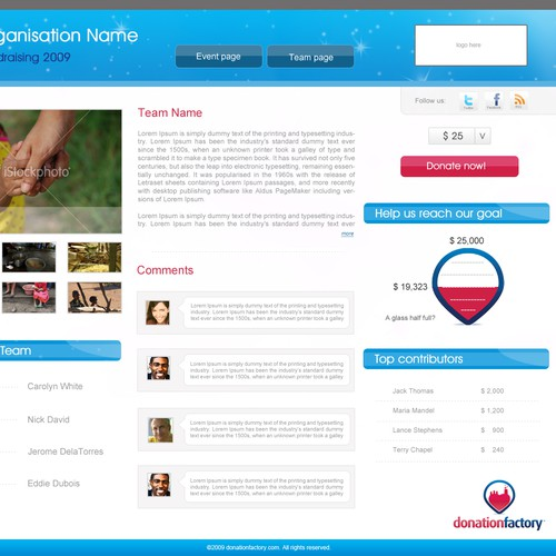 Donation web design - Donation Factory