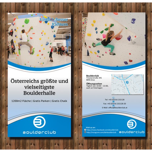 Two-sided Flyer for newly opened climbing gym!