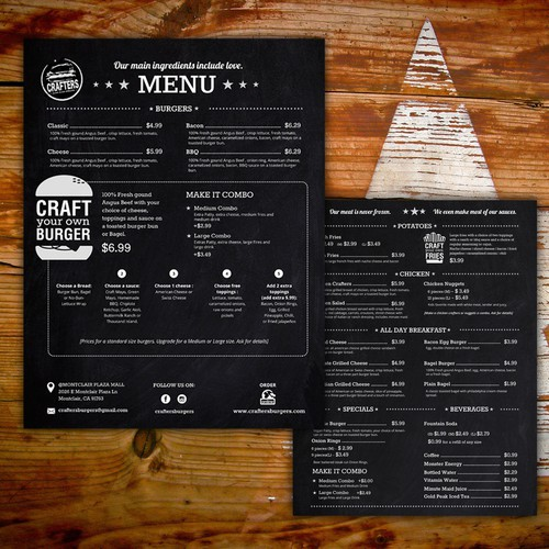 MENU Crafters Burger