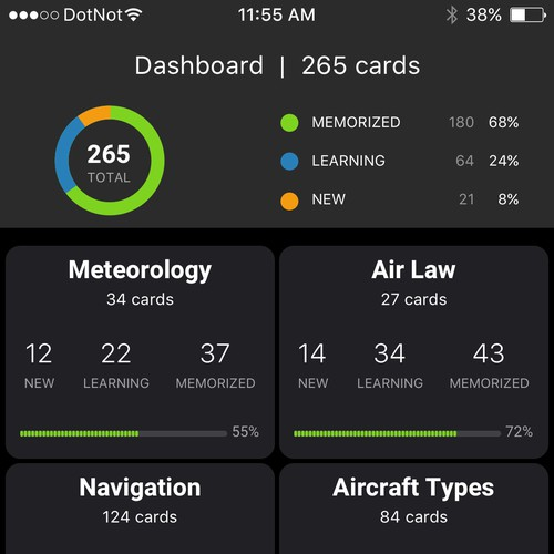 Flashcard app for pilot's knowledge