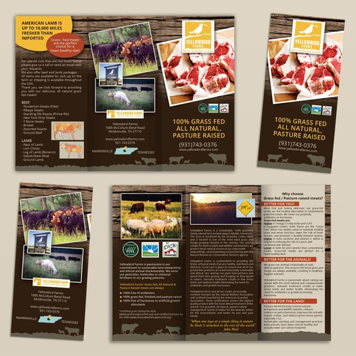 Create a brochure for Yellowbird Farms grass fed beef & lamb