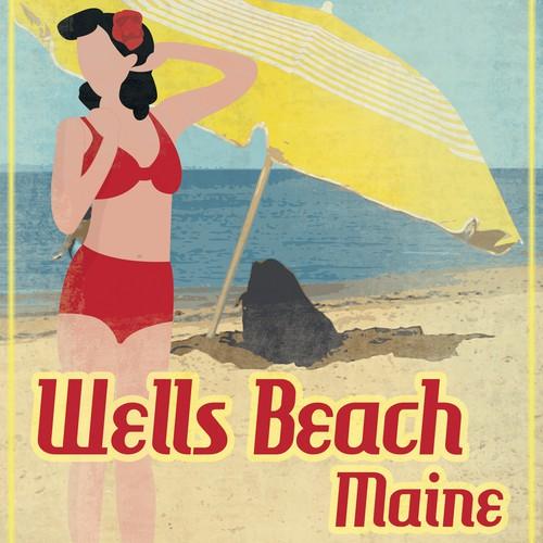 Fun Nostalgic Looking Beach Sign