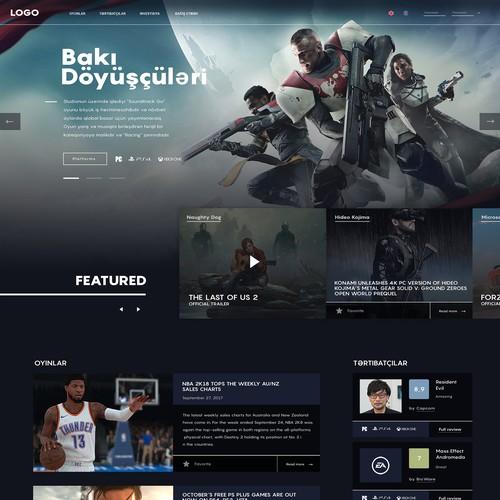 Web design for video game portal.