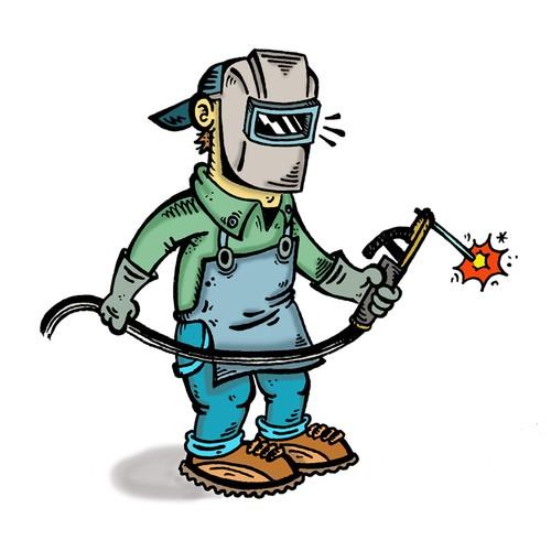 DTRAINS Welder Cartoon Character