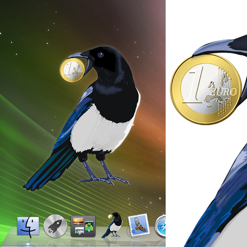 OS X app icon displaying a thievish magpie