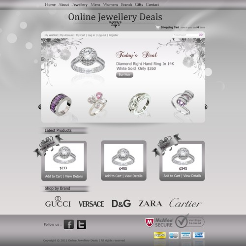 JEWELLERY WEBSITE: 1 classy home page design needed