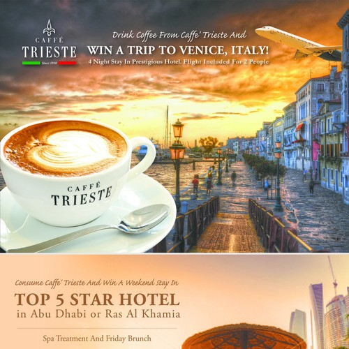 Flyer for winning a trip to Italy or Dubai, from Coffee shop