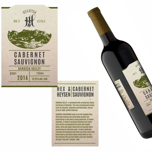 Hex & Heysen wine label + logo design