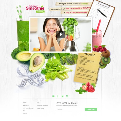 Landing page for smoothie diet.