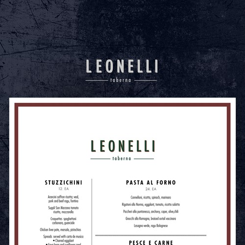 Menu template for NYC restaurant