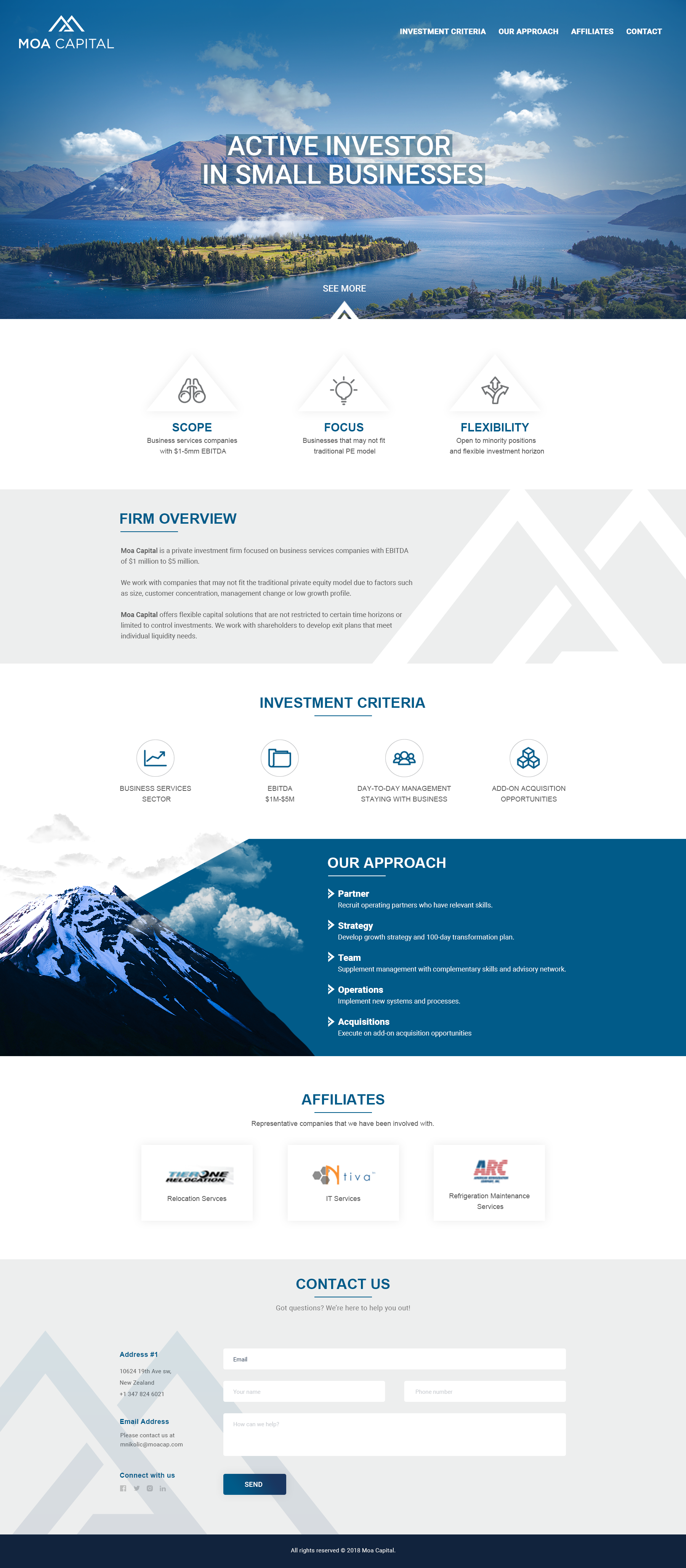 Simple one page for startup