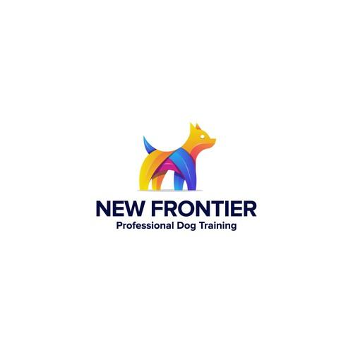 modern colorful dog logo design