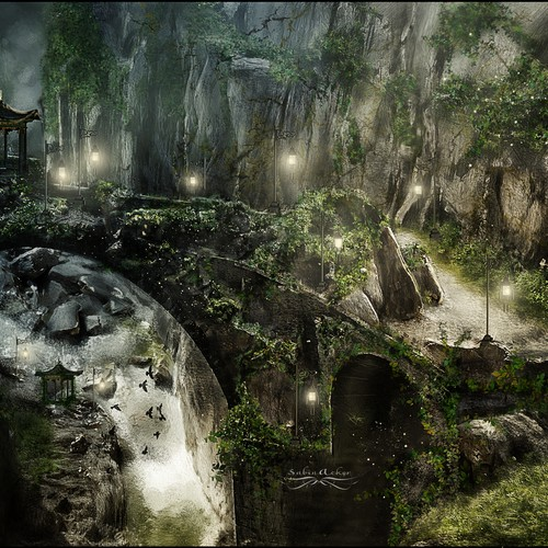 unique fantasy landscape - mystical, fairytale,