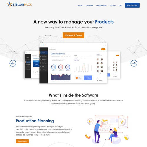 Production Management SAAS Website design