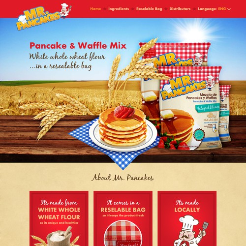 Web page & FB cover for pancake mix