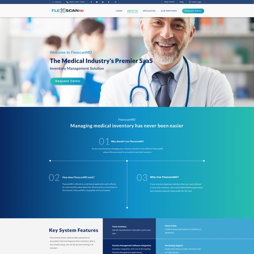 Home page for Medical technology website