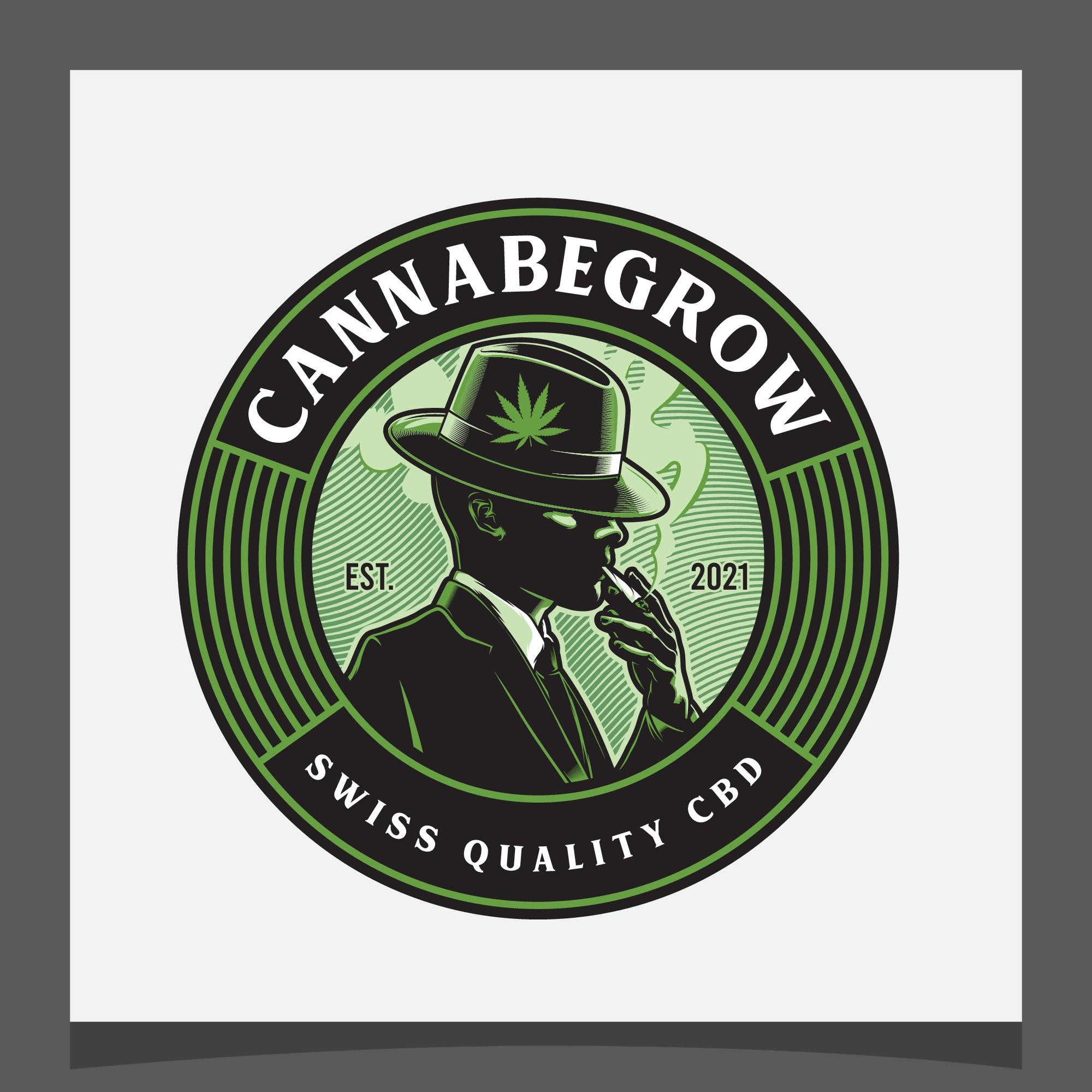 Mafiosi raucht Joint Logo für ein Growunternehmen