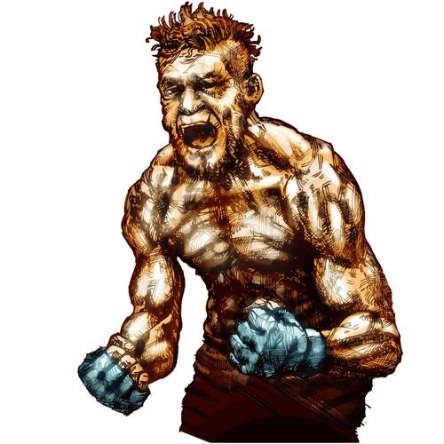 "Mixed Martial Arts (""MMA"") Fighter Illustration"