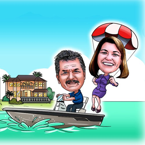 Caricature of Capt. Bob & Kelly Davies