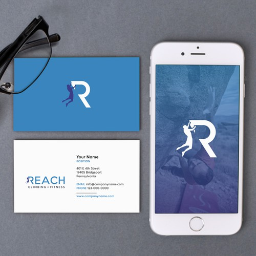 Modern logo design for Reach Climbing + Fitness
