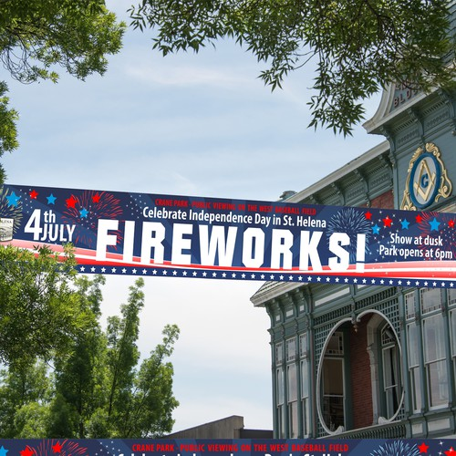 Street banner for 4th july