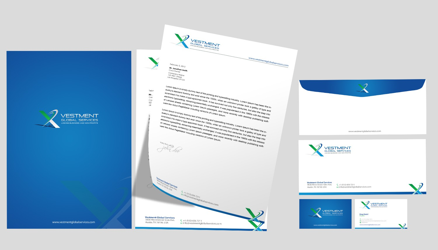 """Create the next stationery for Vestment Global Services with strapline """"Linking Business and Non-Profits'"""
