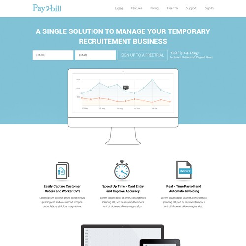 Modern website design for a startup SaaS company