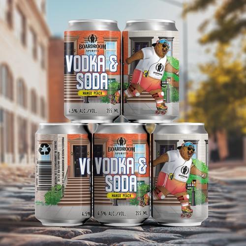 Label design for Vodka & Soda, Mango Peach