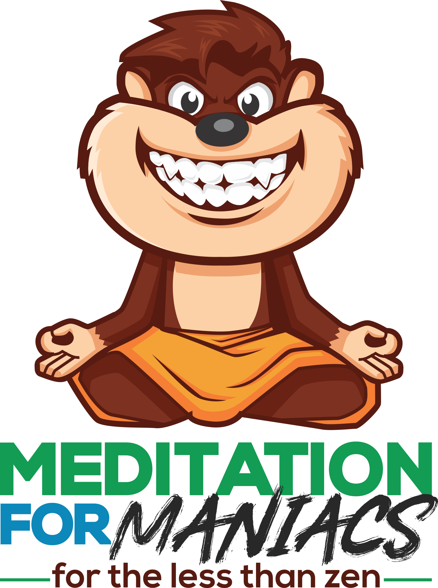 Create a comic, unisex logo with funny character for Meditation for Maniacs