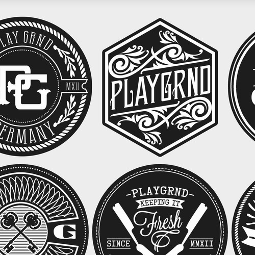 Create 5 hipster logo badges for embossed leather patches