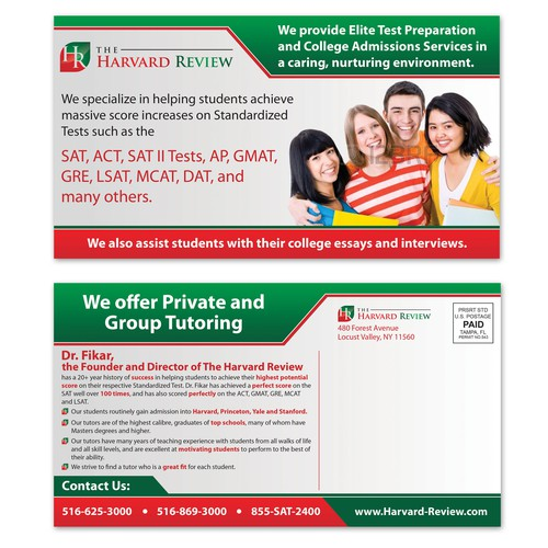 Create a 6 x 11 PostCard Design for Elite Test Prep Firm