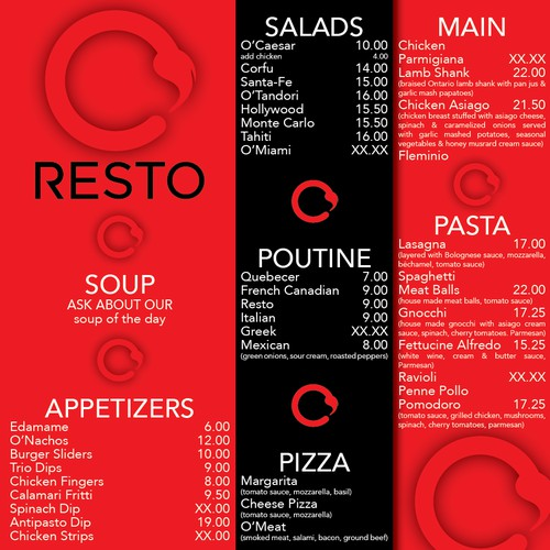 NEW MENU DESIGN ORESTO LOUNGE