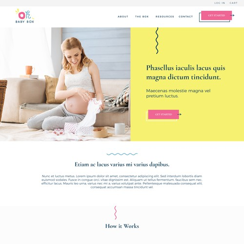 Baby subscription box landing page