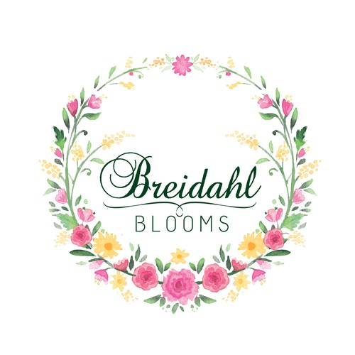 beautiful and colourful logo for a bespoke florist