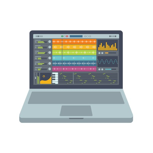 Laptop with Music Production Software