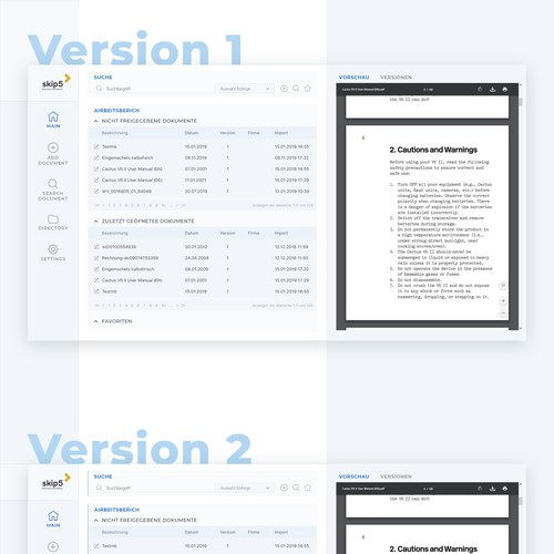 User Interface for a document management system