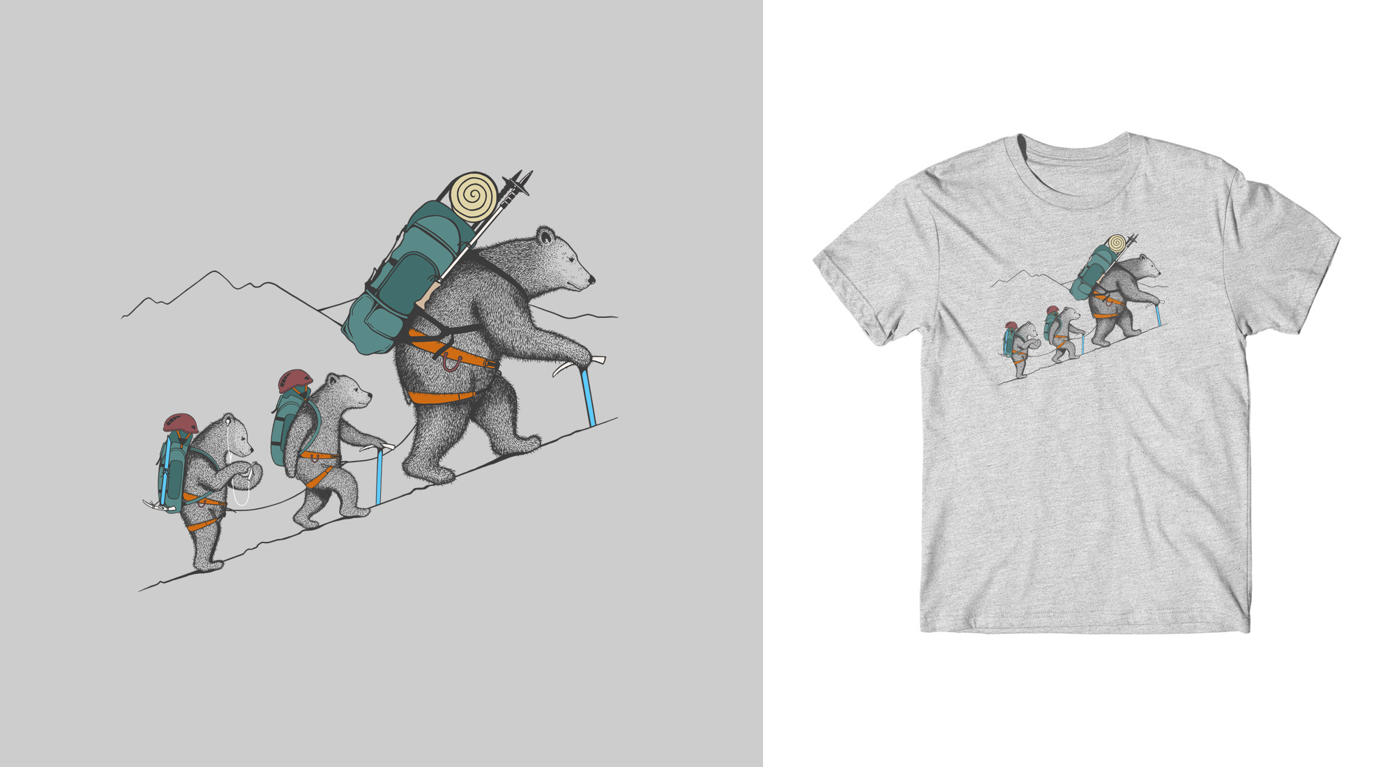 Rock-climbing and mountaineering inspired t-shirts