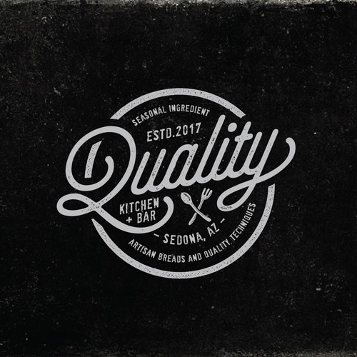 vintage and organic logo for Quality Kitchen + Bar in Sedona, AZ.
