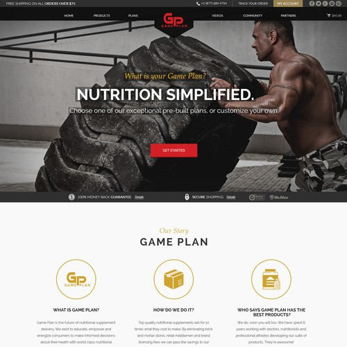 Landing Page Design for Game Plan