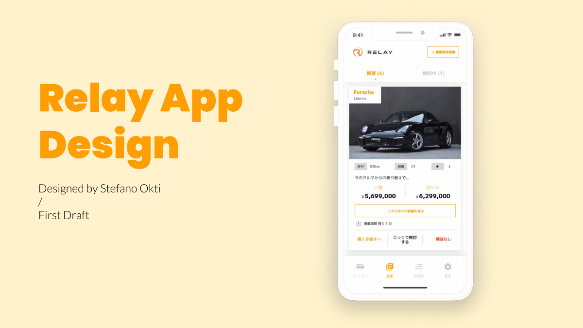 "UI design of app ""Relay"" to buy and sell cars."