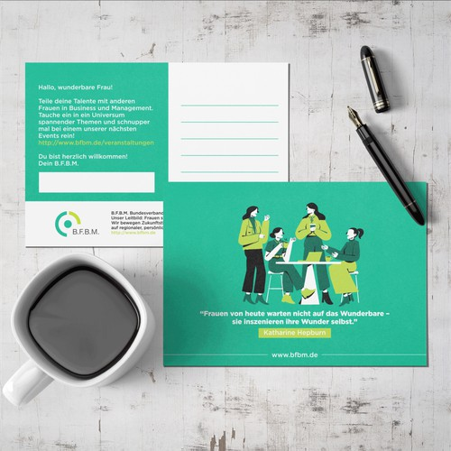 Poscard Design for a professional women's Network