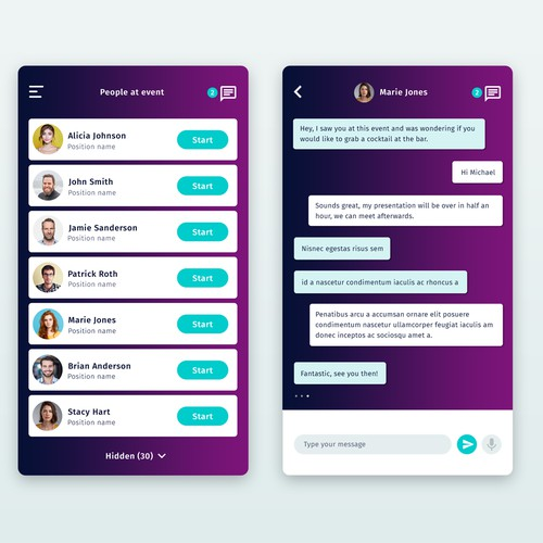 Events chat app