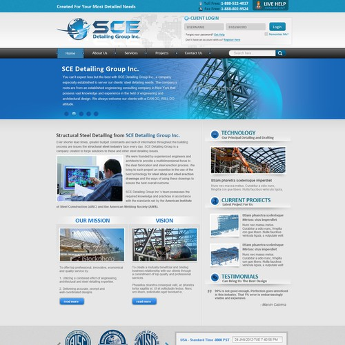 """Web Page Design  for SCE Detailing Group Inc. """"Steel Detailing Company"""""""