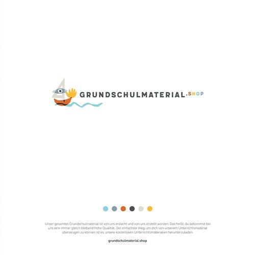 Logokonzept für einen Onlineshop, der Materialien für den Unterricht an Grundschulen anbietet.
