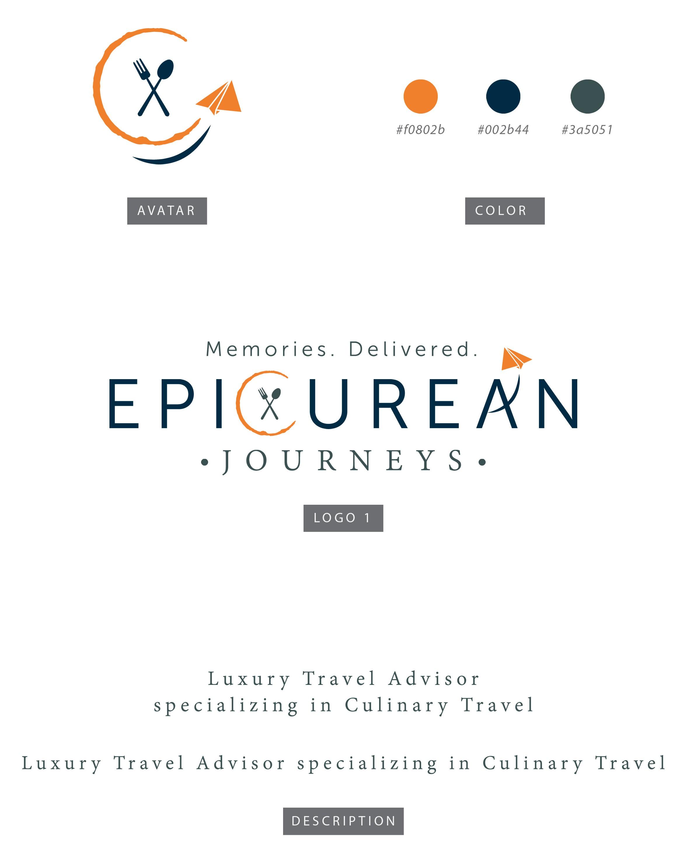 Design a high end culinary travel logo for Epicurean Journeys